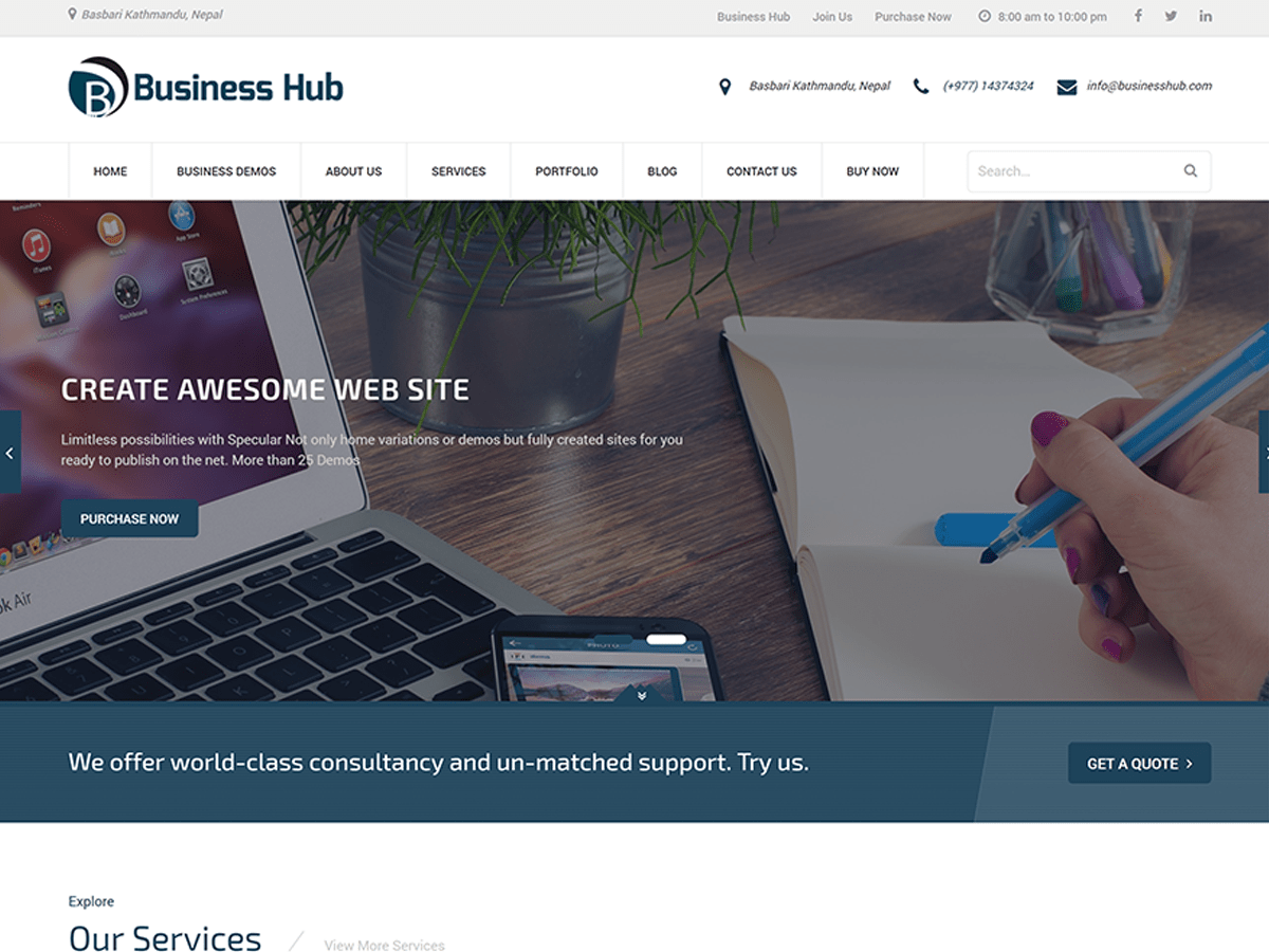 Business Hub Download Free Wordpress Theme 1