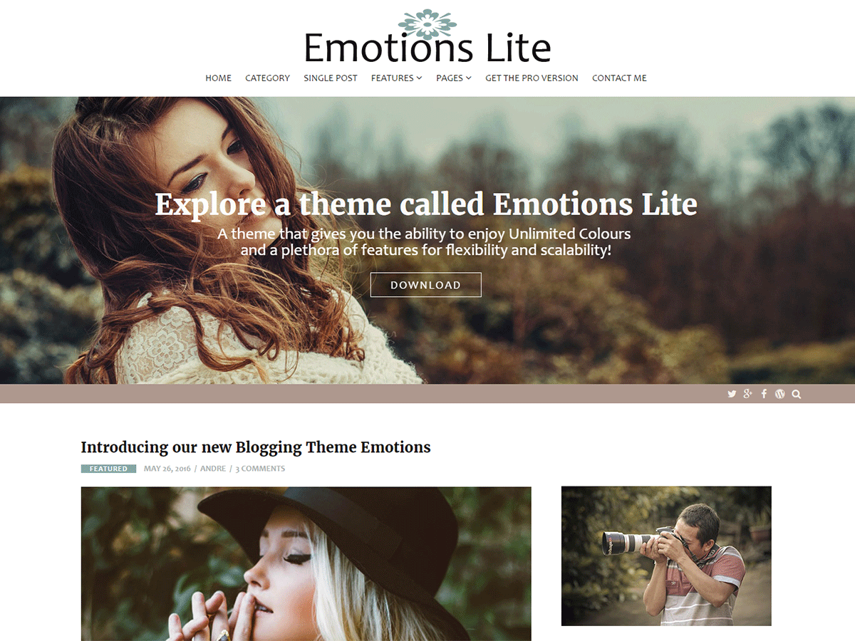 Emotions Lite Download Free Wordpress Theme 1