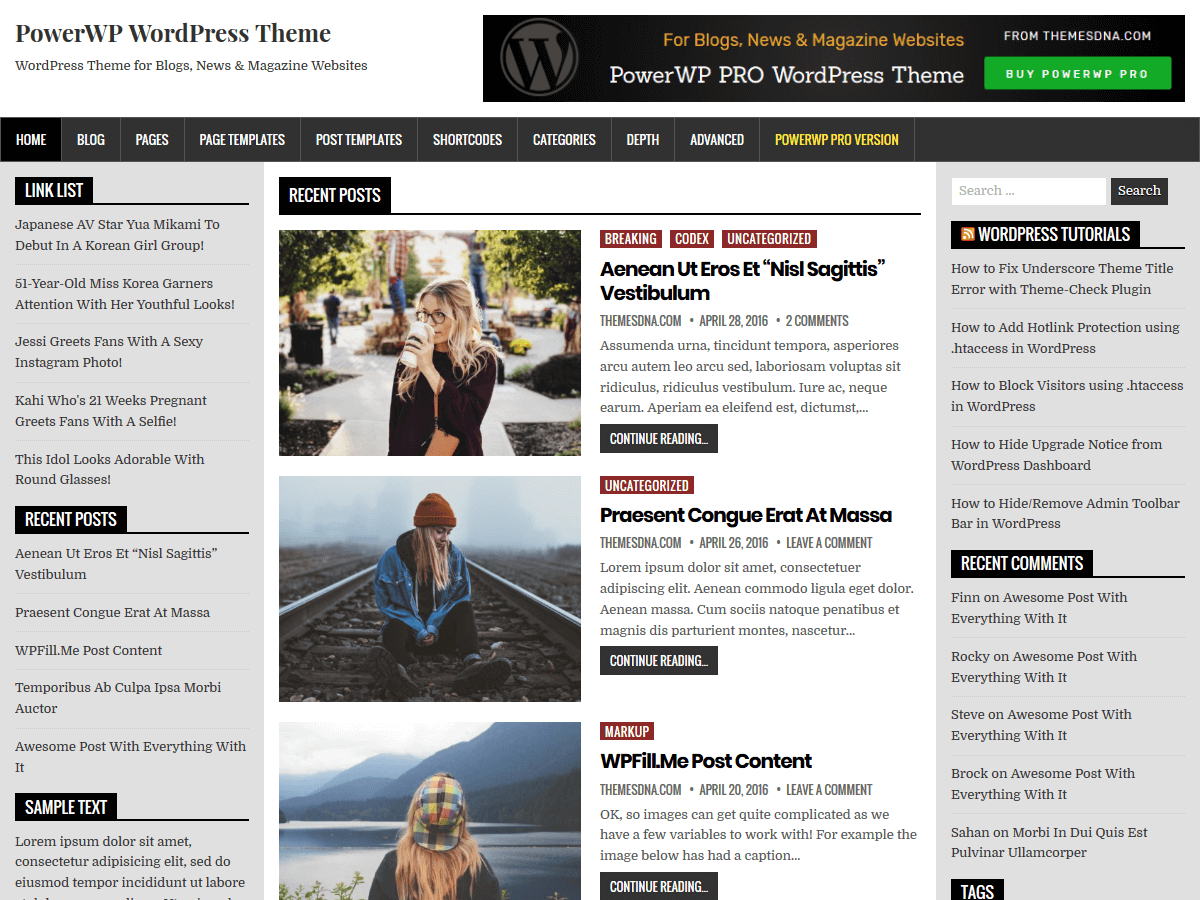 PowerWP Download Free Wordpress Theme 2