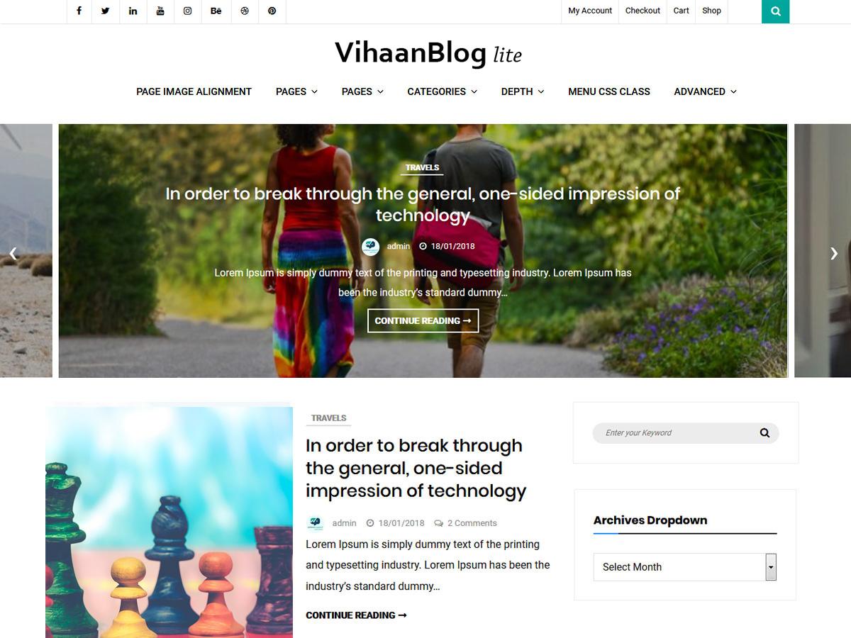 Vihaan Blog Lite Download Free Wordpress Theme 3