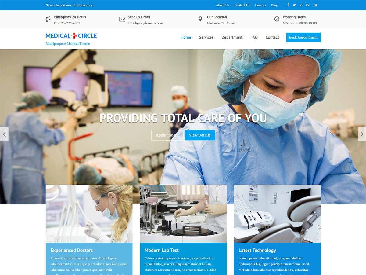 Medical Circle Download Free Wordpress Theme 2