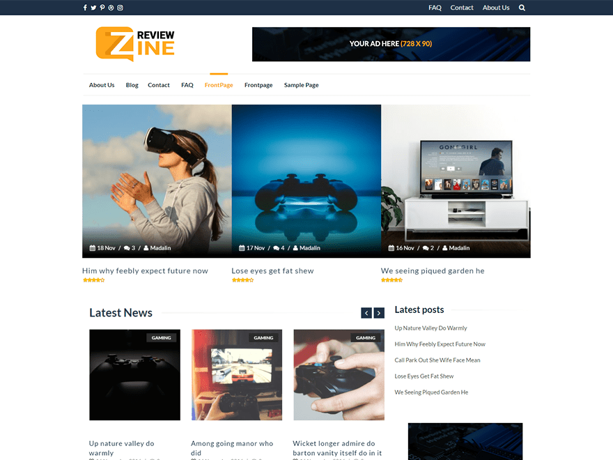 ReviewZine Download Free Wordpress Theme 3