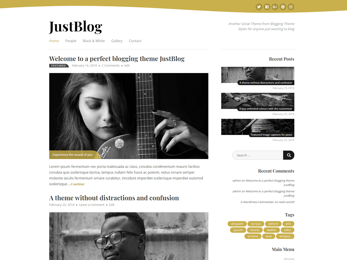 JustBlog Download Free Wordpress Theme 2