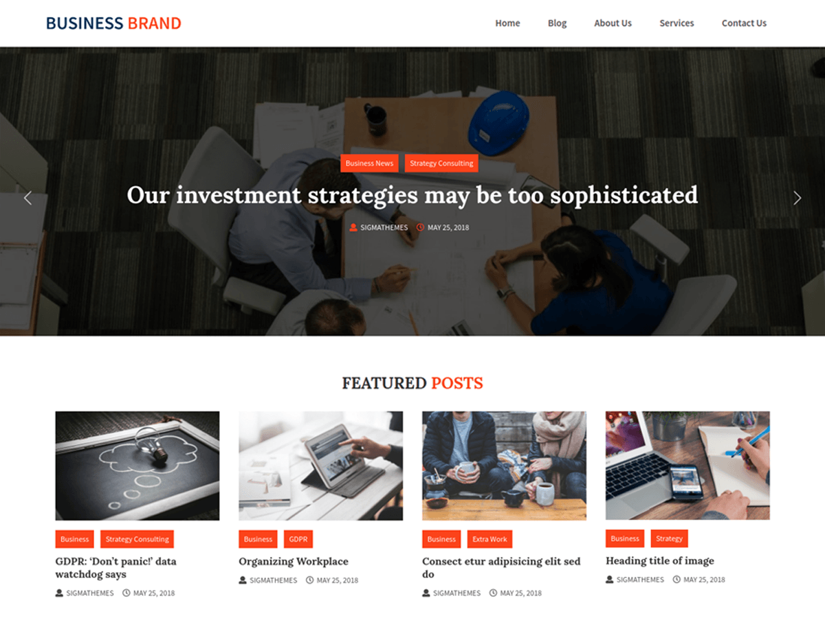 Business Brand Download Free Wordpress Theme 1
