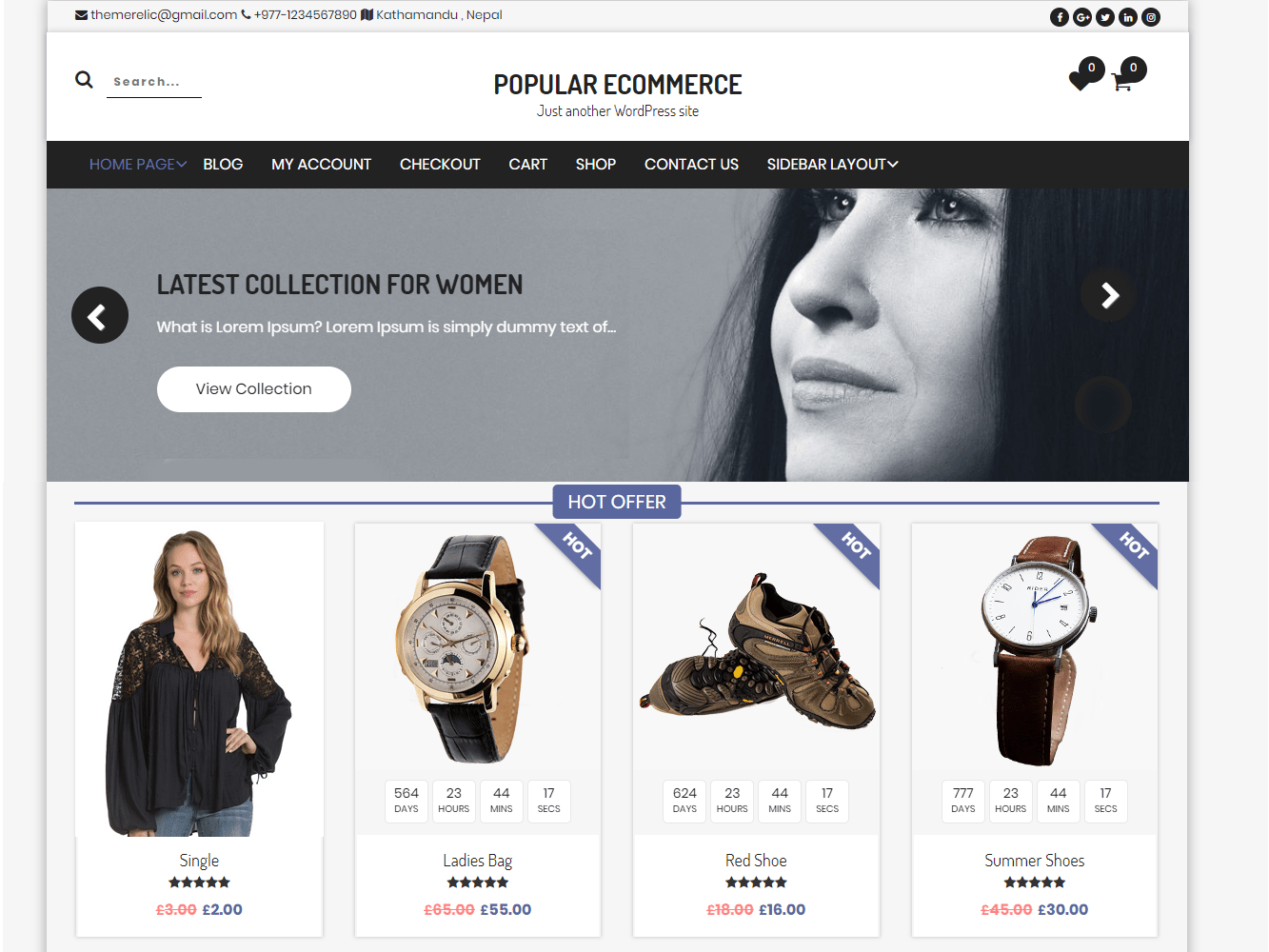 Popular eCommerce Download Free Wordpress Theme 4