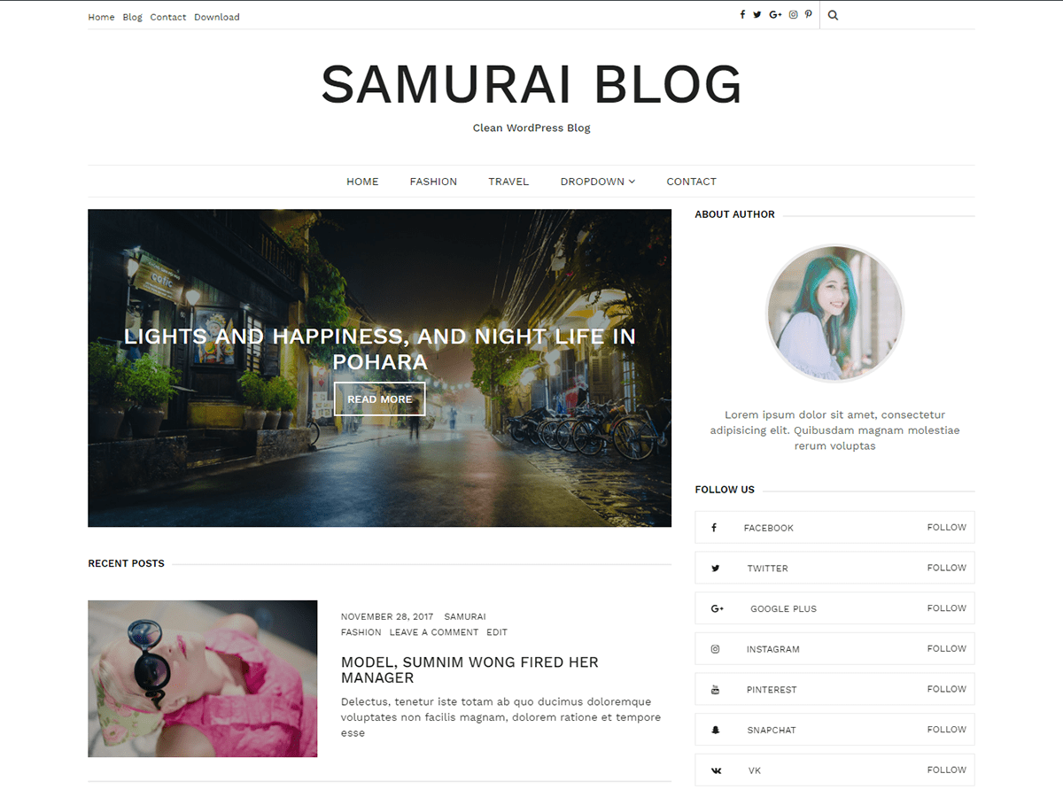 Samurai Download Free Wordpress Theme 4