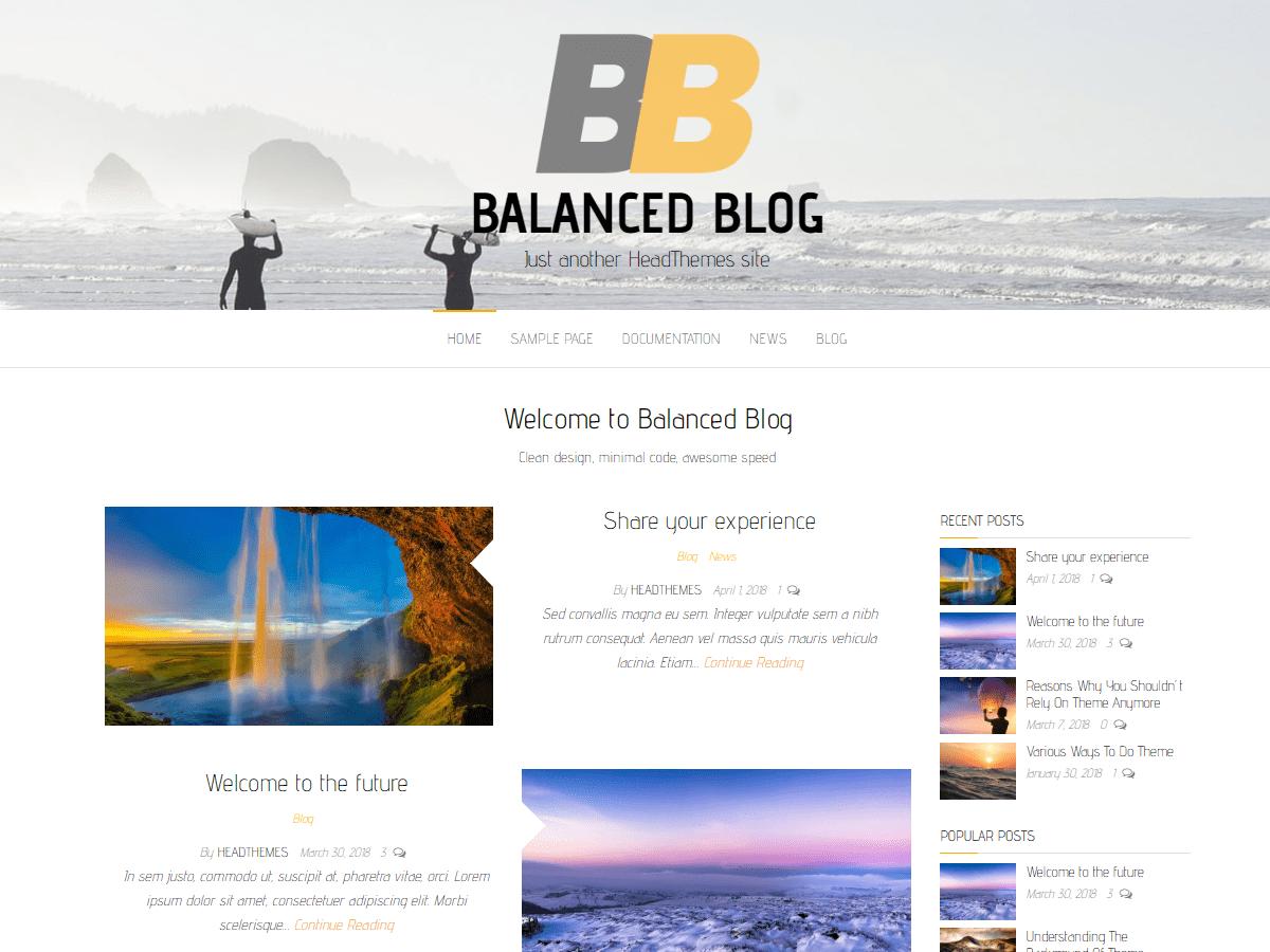 Balanced Blog Download Free Wordpress Theme 3
