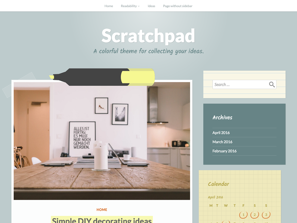 Scratchpad Download Free Wordpress Theme 1