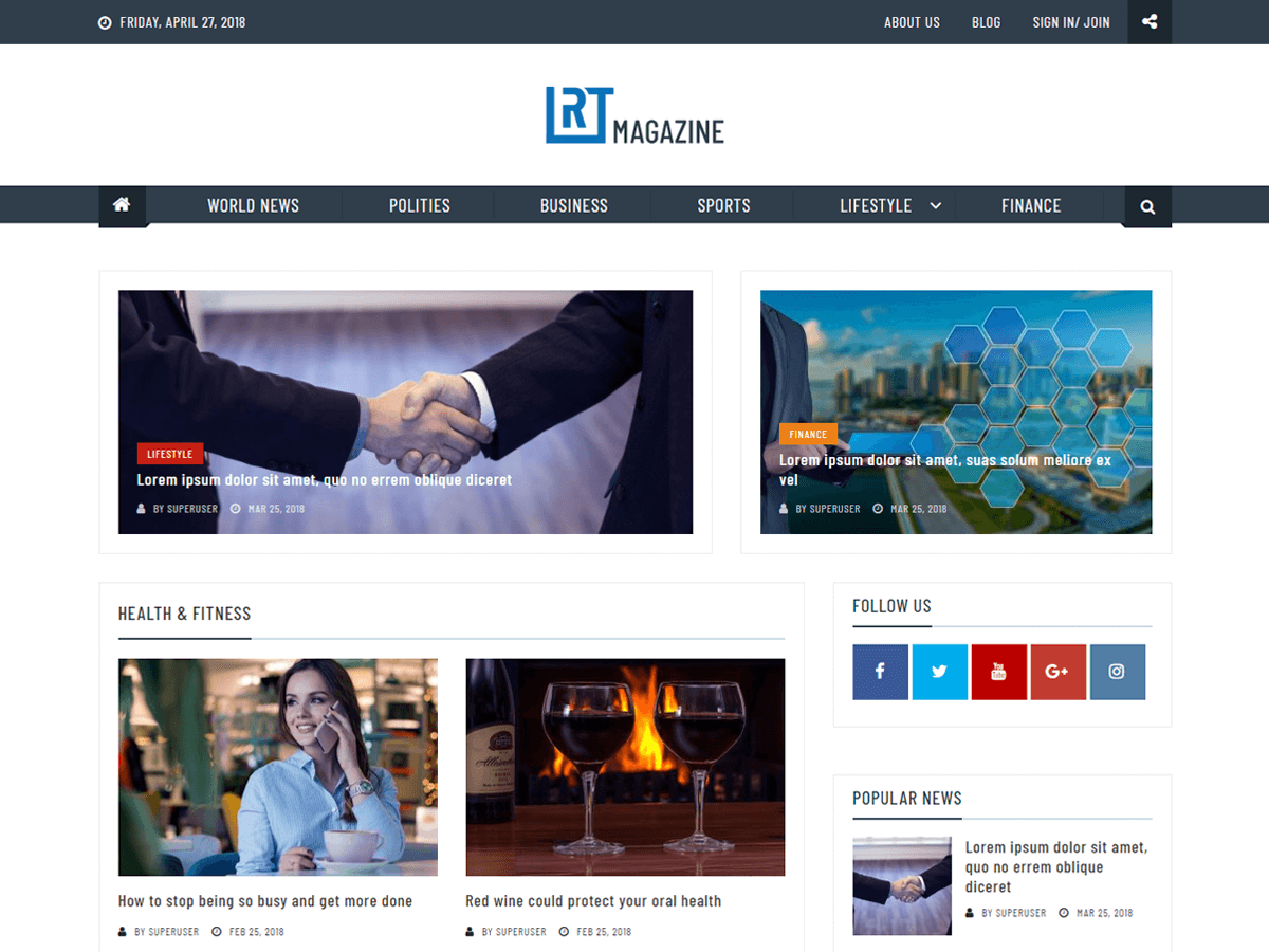 RT Magazine Download Free Wordpress Theme 3