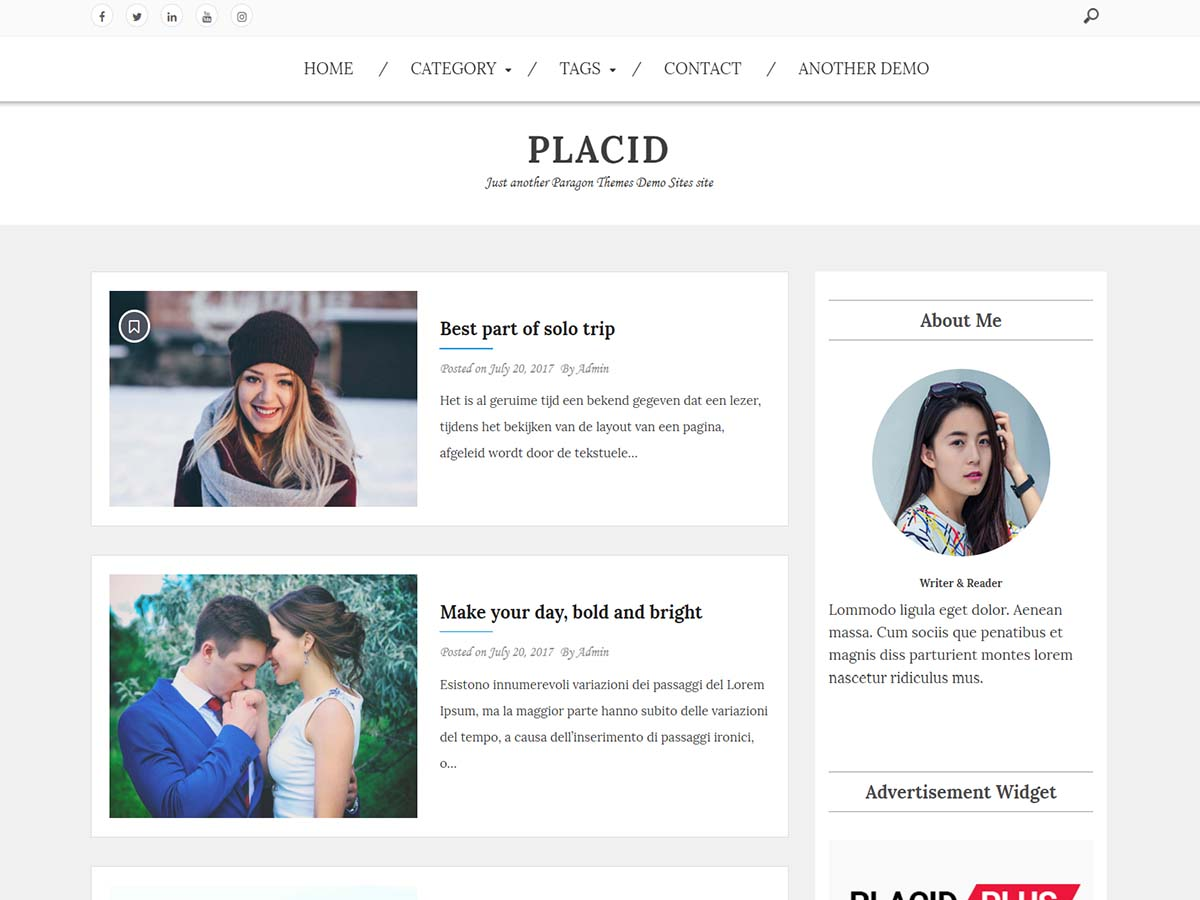 Placid Download Free Wordpress Theme 3