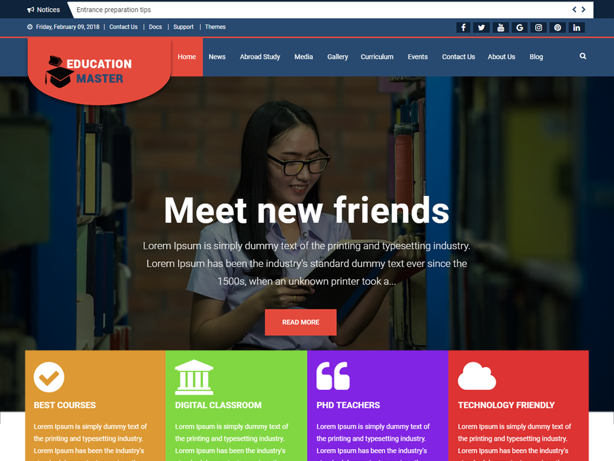 Education Master Download Free Wordpress Theme 2