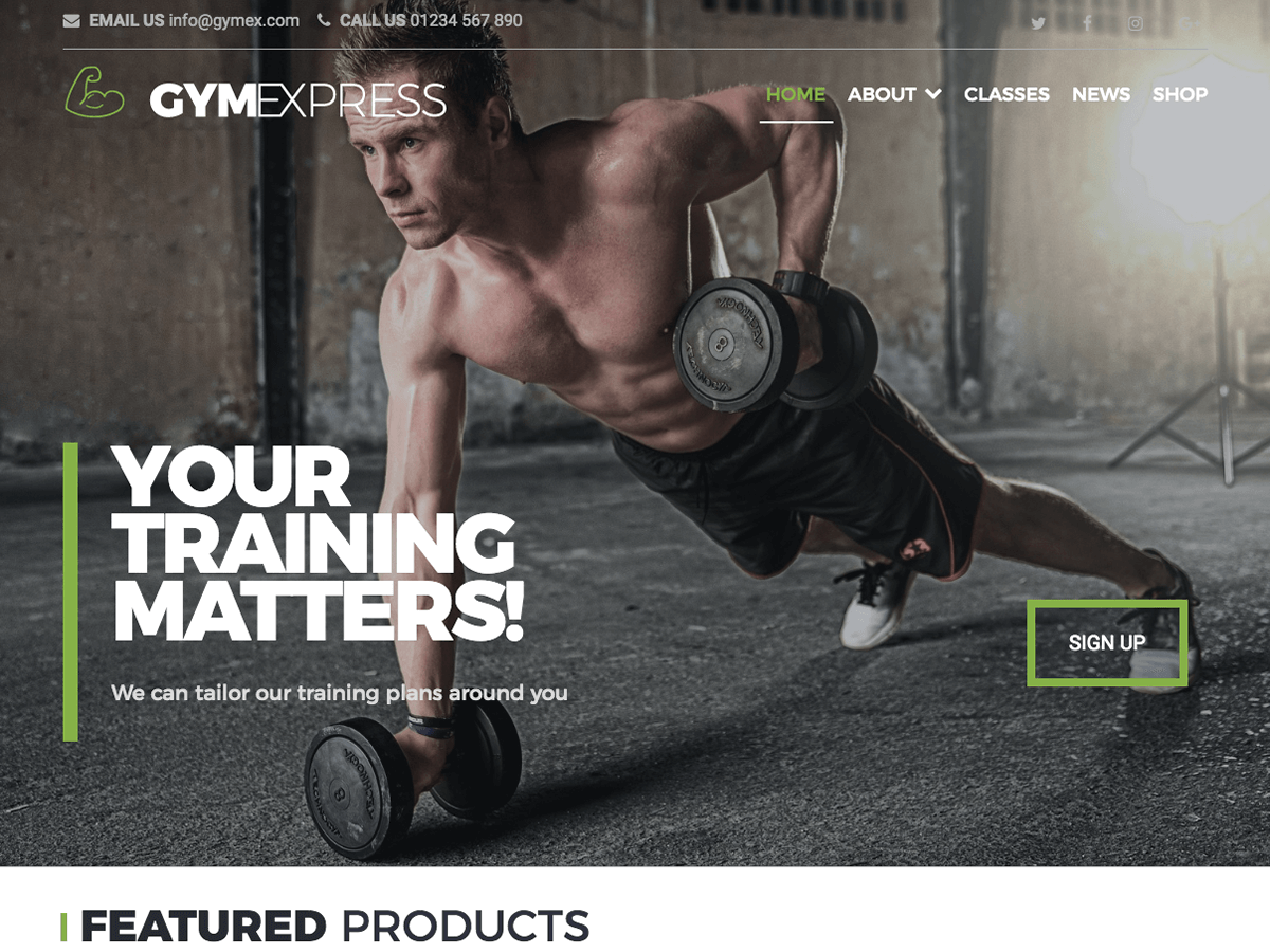 Gym Express Download Free Wordpress Theme 1