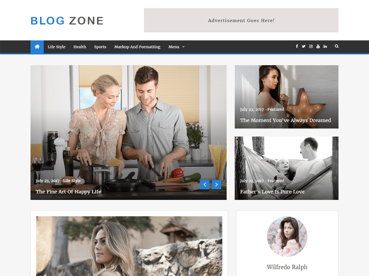 Blog Zone Download Free Wordpress Theme 1