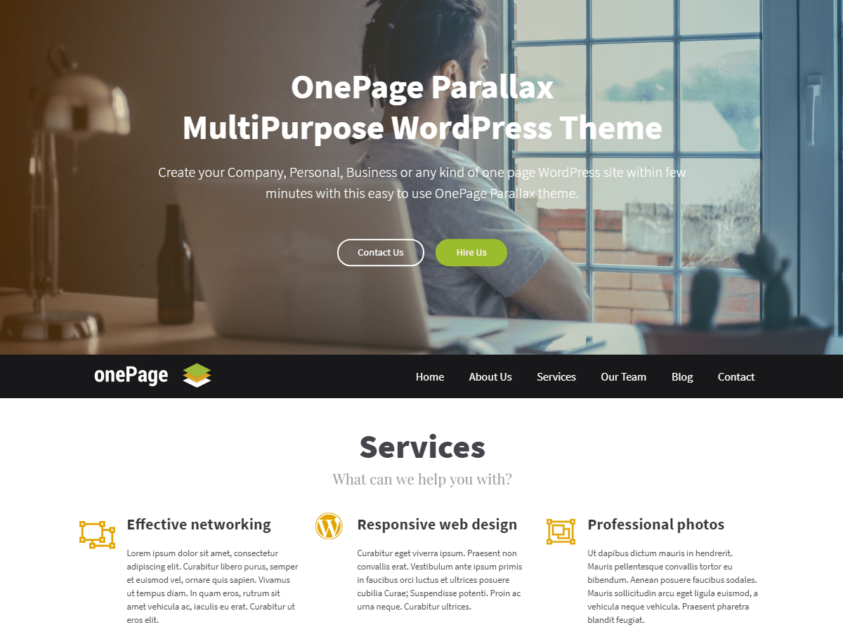 OnePage Parallax Download Free Wordpress Theme 5