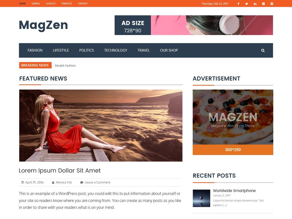 MagZen Download Free Wordpress Theme 5