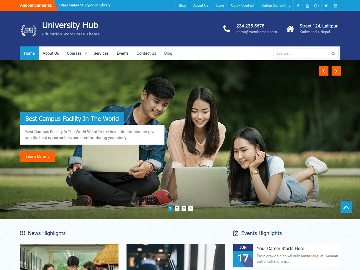 University Hub Download Free Wordpress Theme 5
