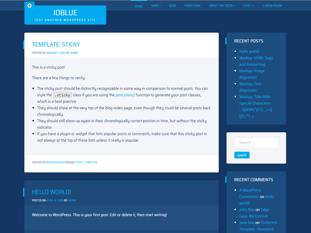 ioBlue Download Free Wordpress Theme 2