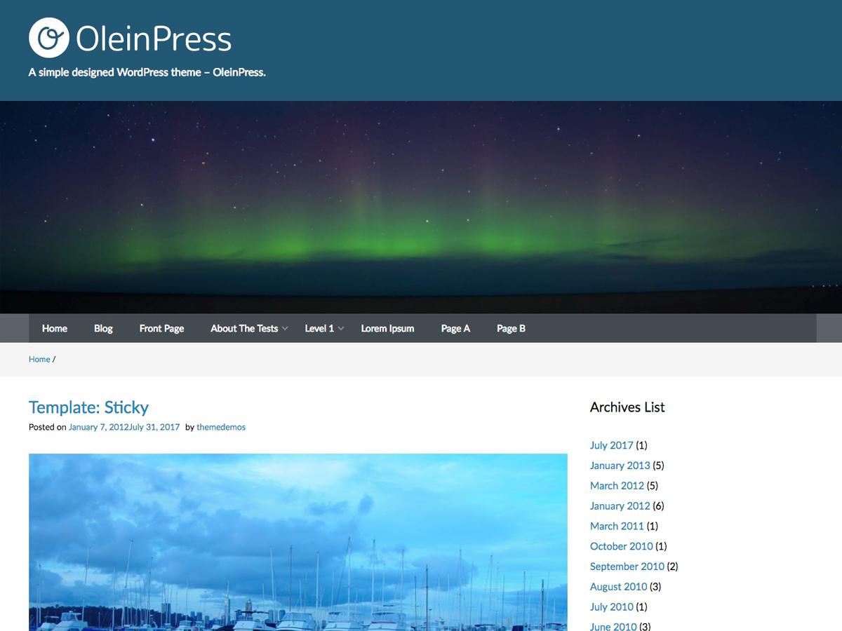 OleinPress Download Free Wordpress Theme 3