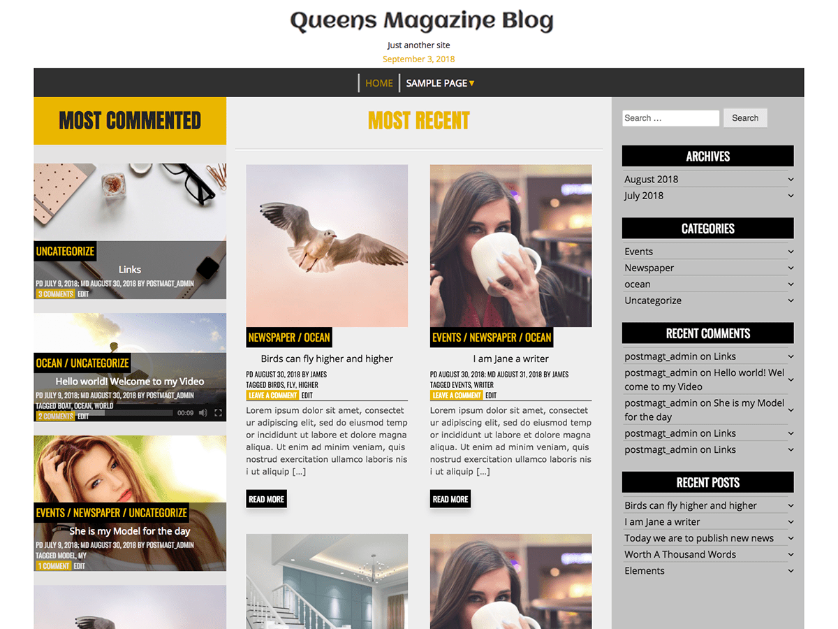 Queens Magazine Blog Download Free Wordpress Theme 1