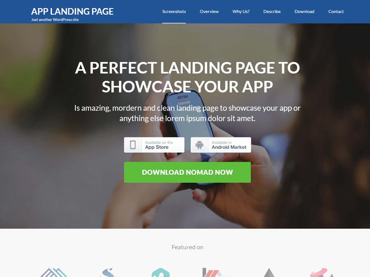 App Landing Page Download Free Wordpress Theme 4