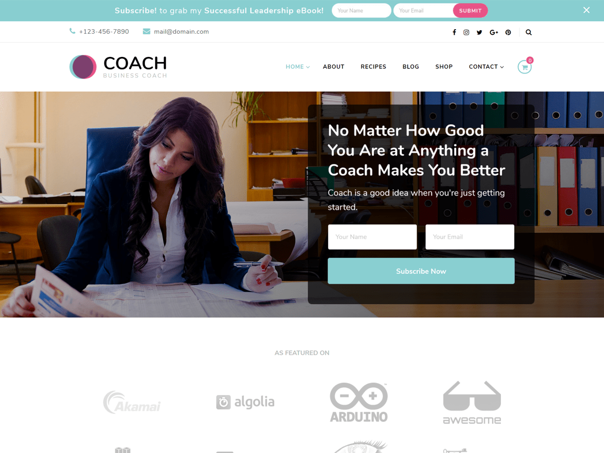 Blossom Coach Download Free Wordpress Theme 2