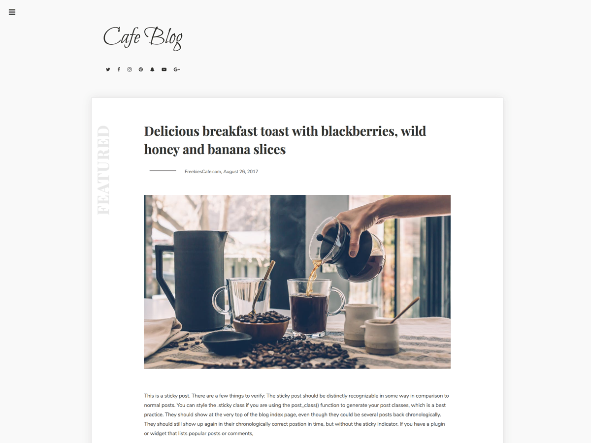 Cafe Blog Download Free Wordpress Theme 2