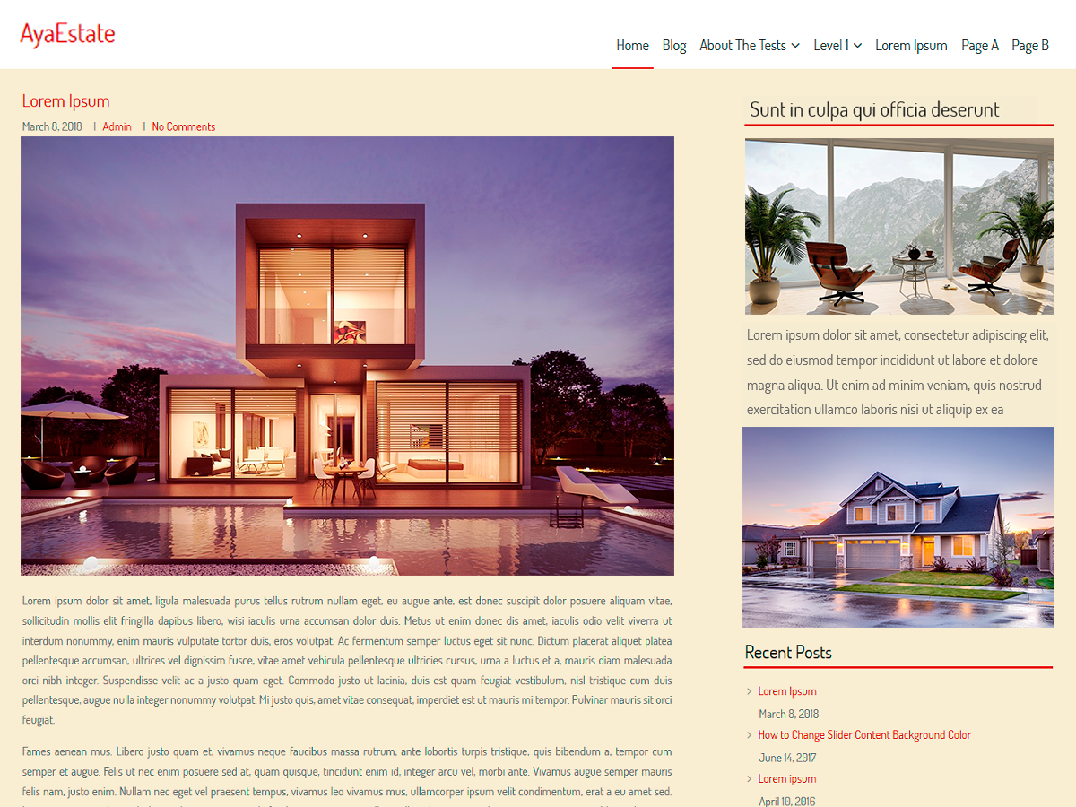 AyaEstate Download Free Wordpress Theme 1