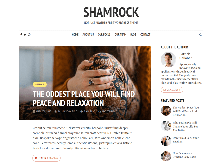 Shamrock Download Free Wordpress Theme 1