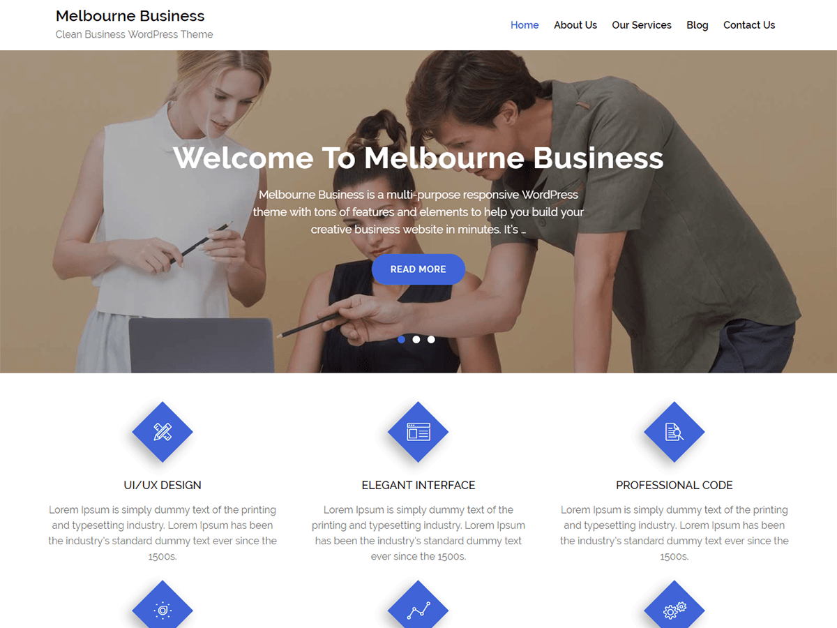 Melbourne Business Download Free Wordpress Theme 2