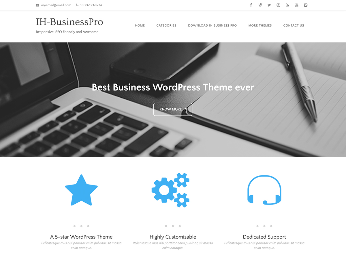 IH Business Pro Download Free Wordpress Theme 1
