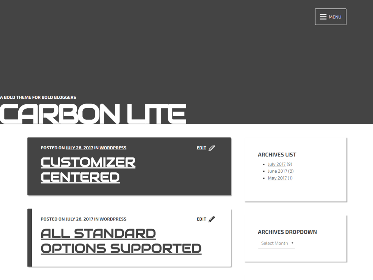Carbon Lite Download Free Wordpress Theme 1