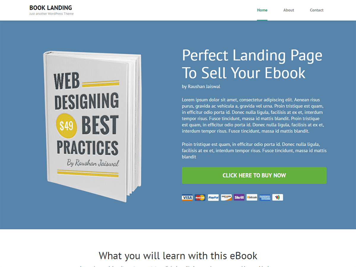 Book Landing Page Download Free Wordpress Theme 2