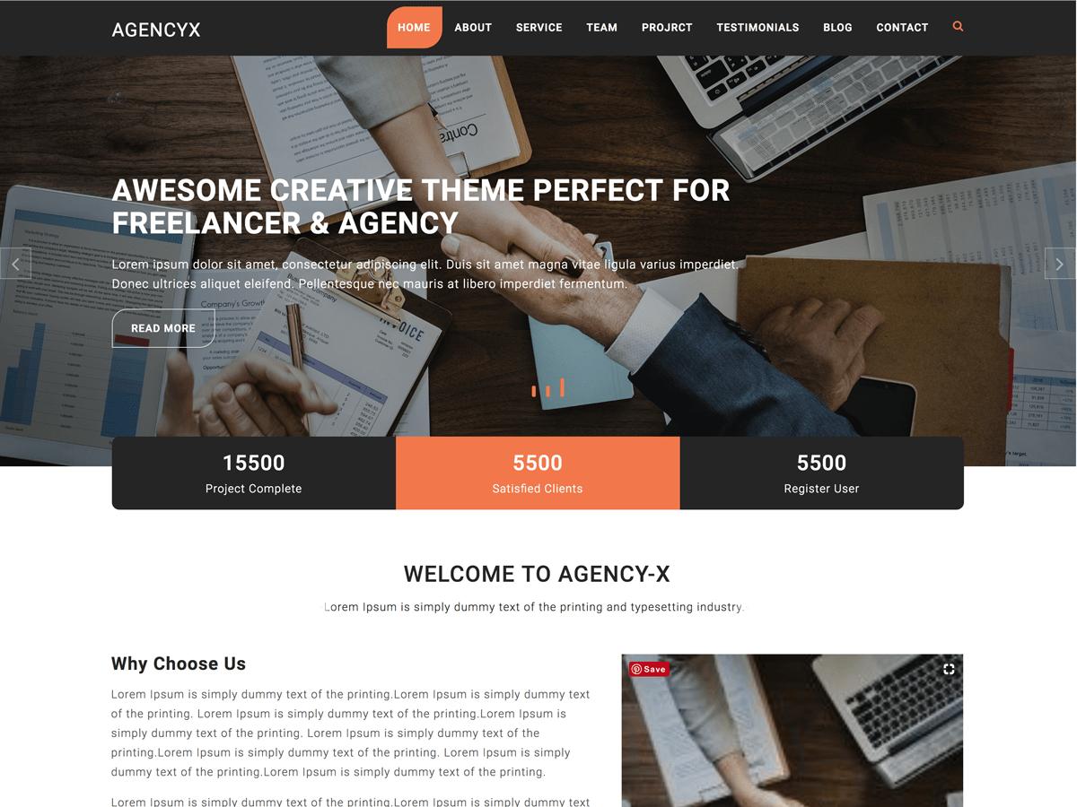 Agency X Download Free Wordpress Theme 2