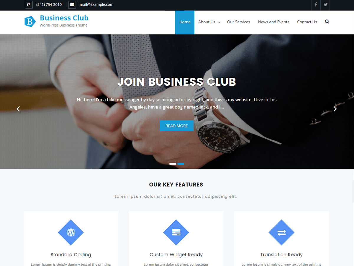 Business Club Download Free Wordpress Theme 1