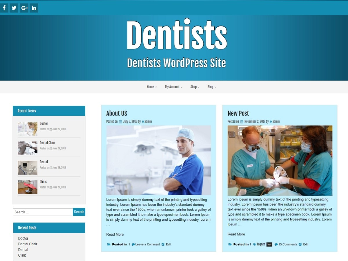 Dentists Download Free Wordpress Theme 2