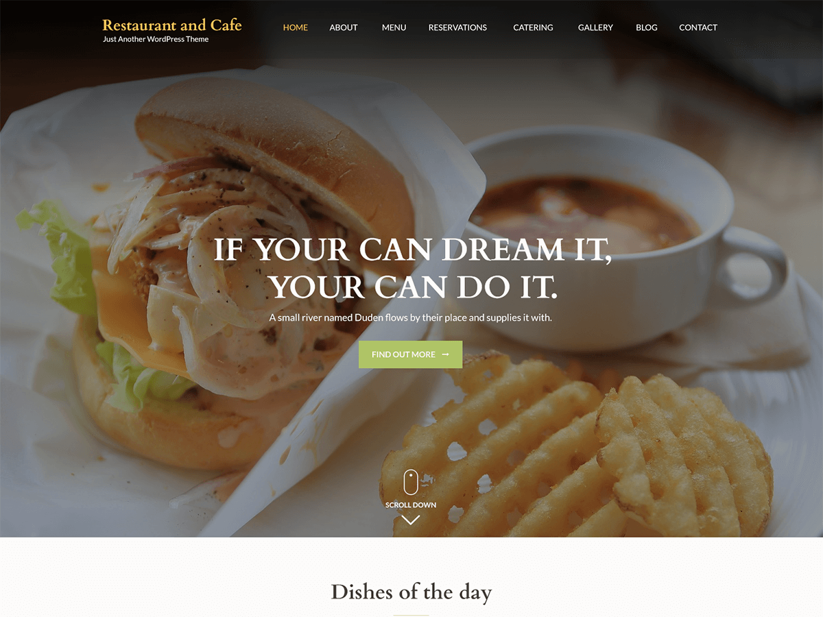 Restaurant and Cafe Download Free Wordpress Theme 4