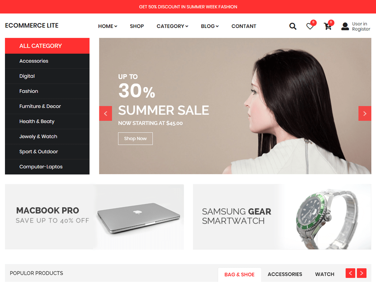 eCommerce Lite Download Free Wordpress Theme 3
