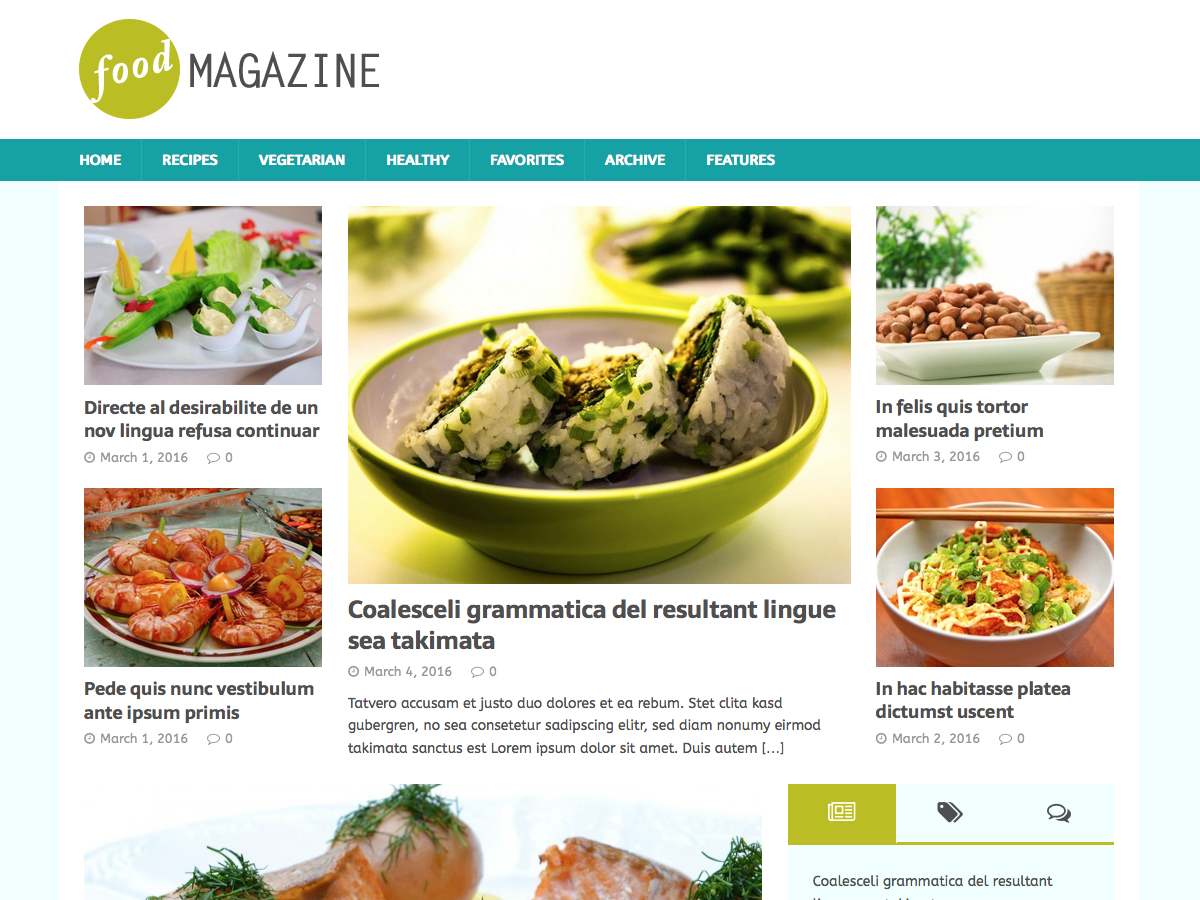 MH FoodMagazine Download Free Wordpress Theme 2