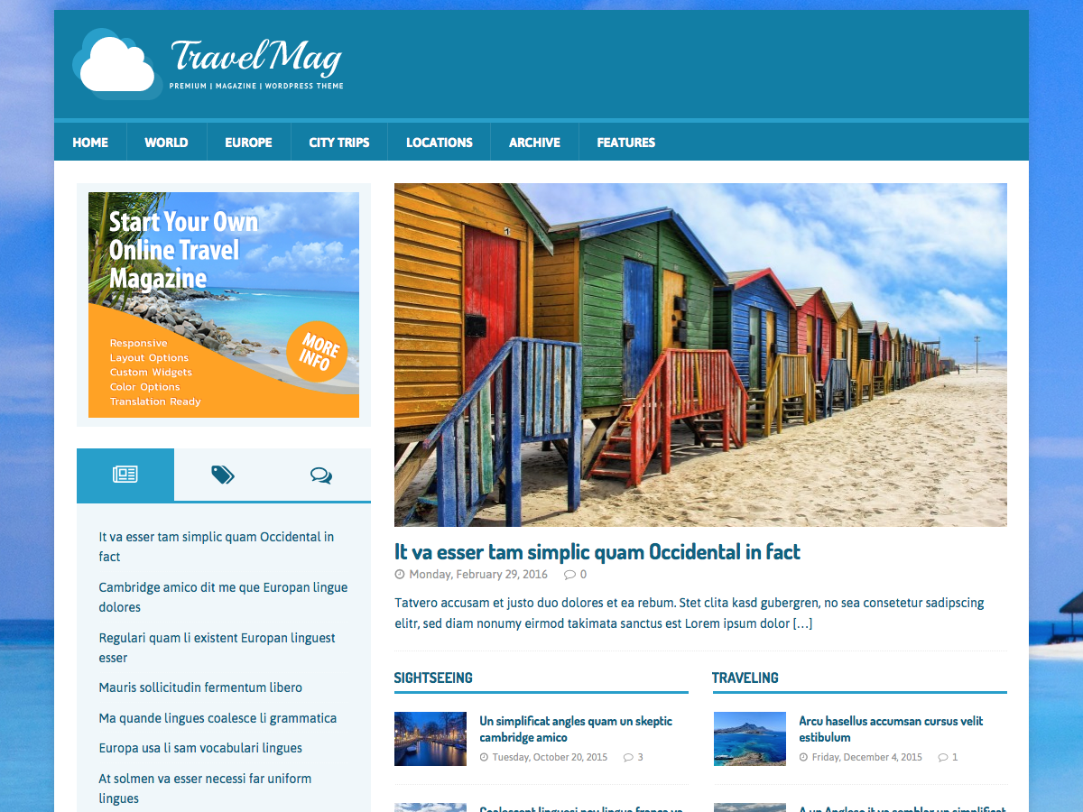 MH TravelMag Download Free Wordpress Theme 1