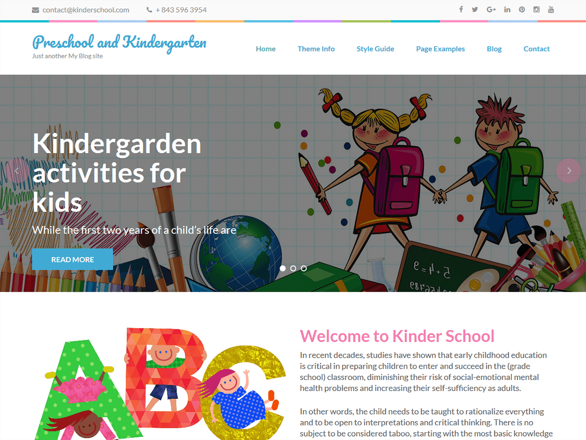 Preschool and Kindergarten Download Free Wordpress Theme 2