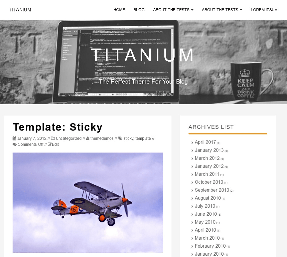 Titanium Download Free WordPress Theme