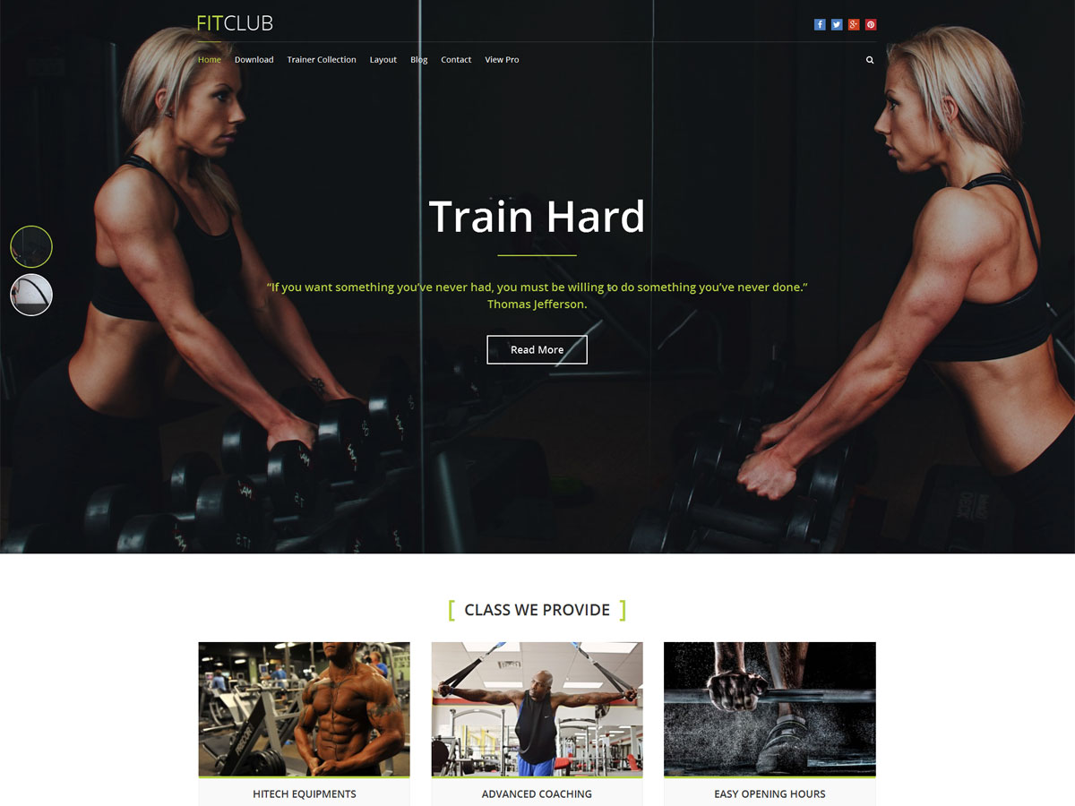 FitClub Download Free Wordpress Theme 1