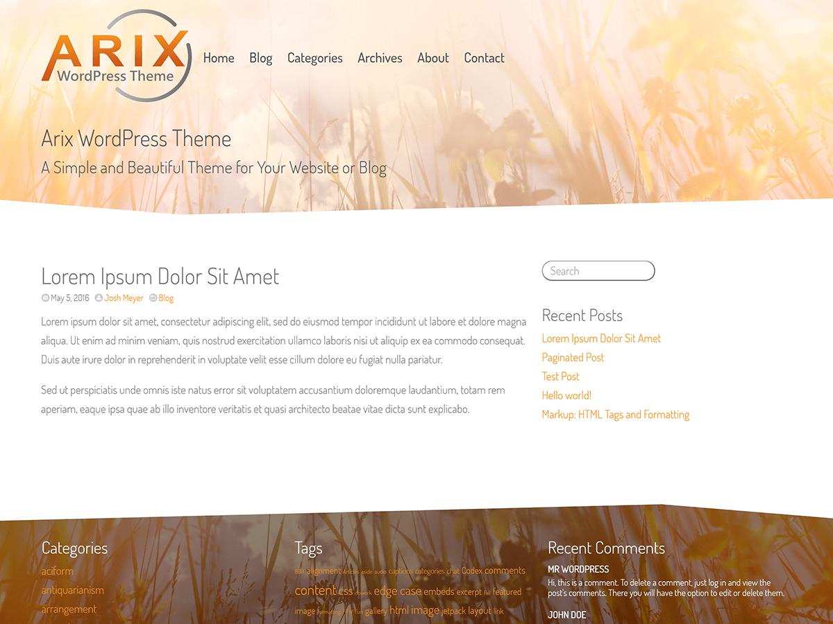Arix Download Free Wordpress Theme 5