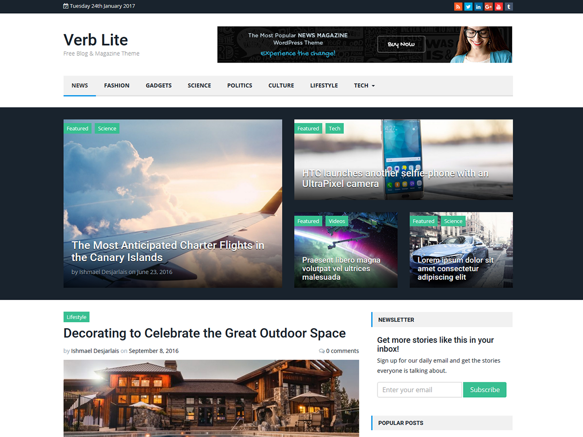 Verb Lite Download Free Wordpress Theme 1