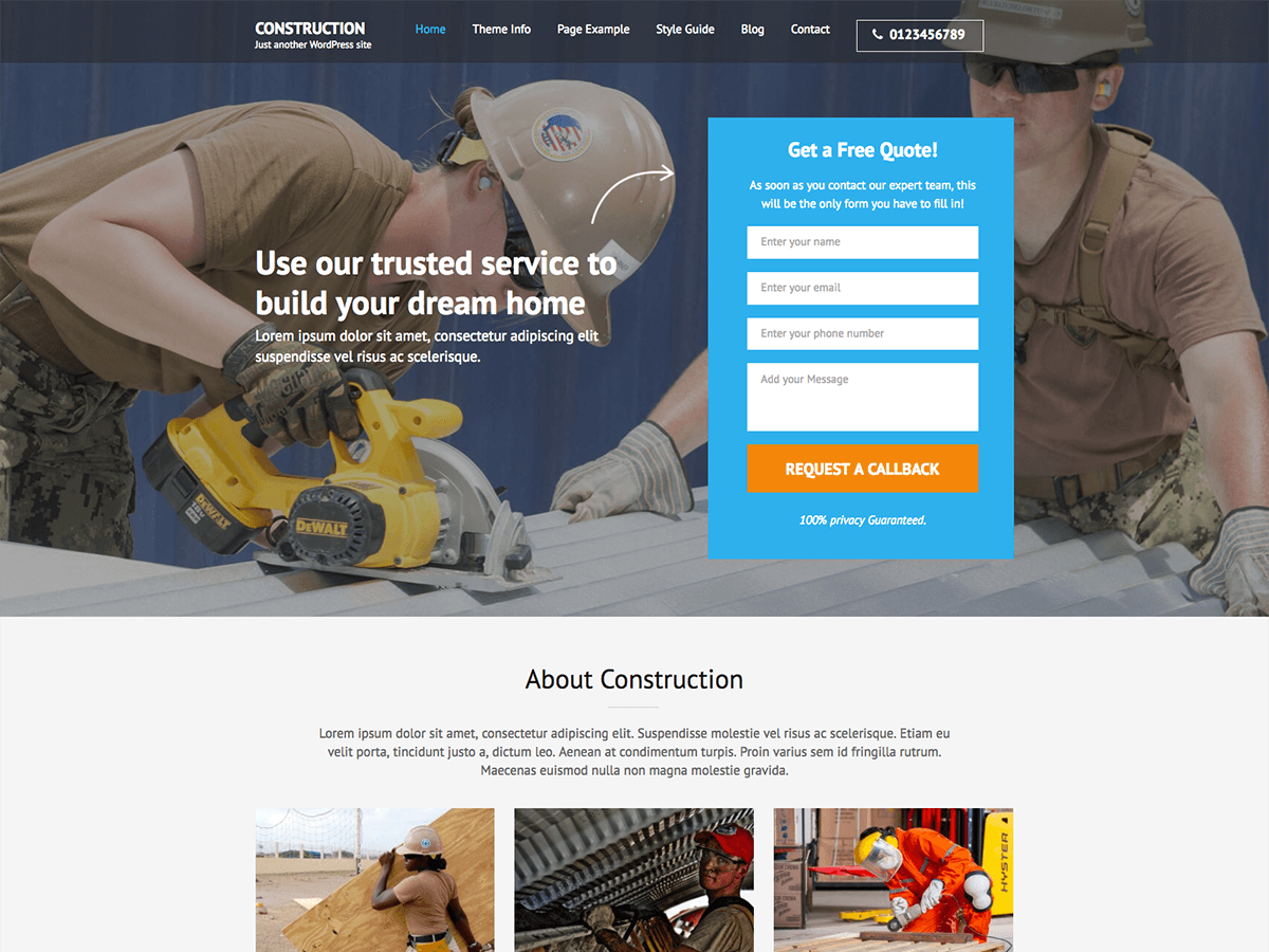 Construction Landing Page Download Free Wordpress Theme 1