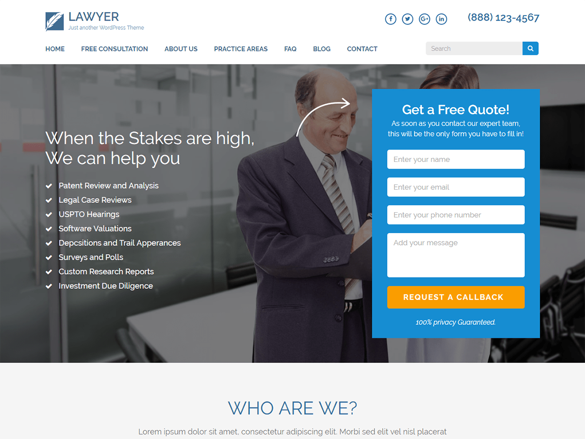 Lawyer Landing Page Download Free Wordpress Theme 2