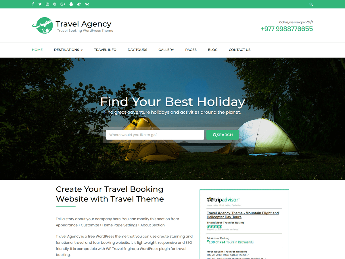 Travel Agency Download Free Wordpress Theme 1