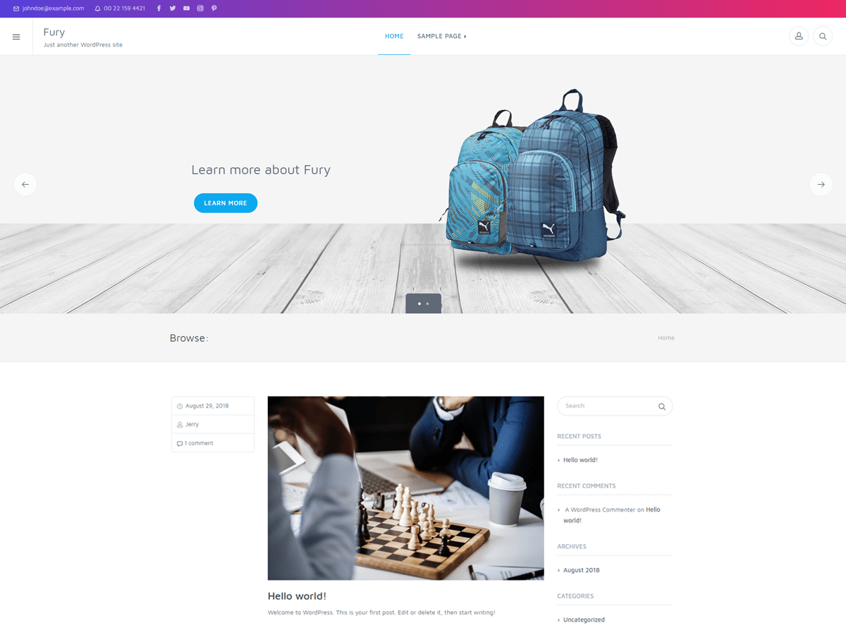 Fury Download Free Wordpress Theme 1