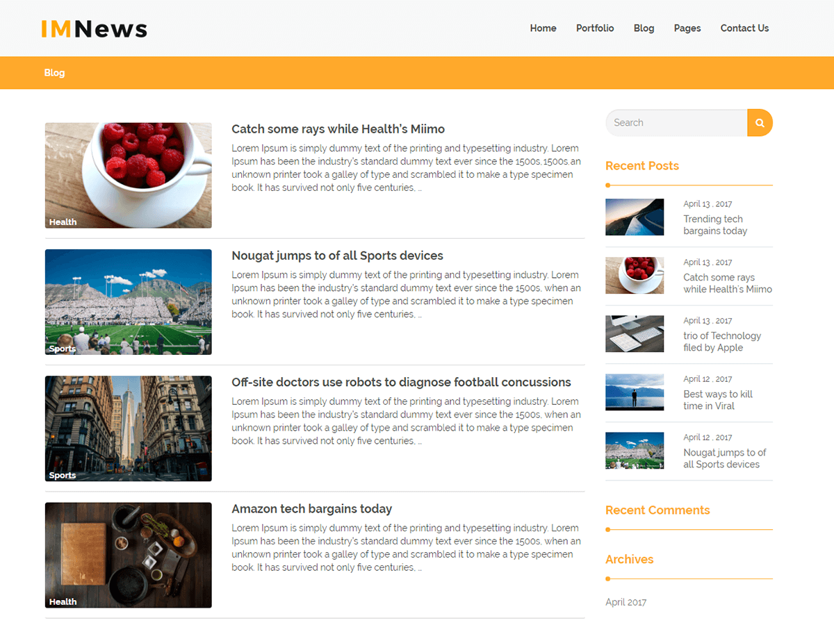 IMNews Download Free Wordpress Theme 3