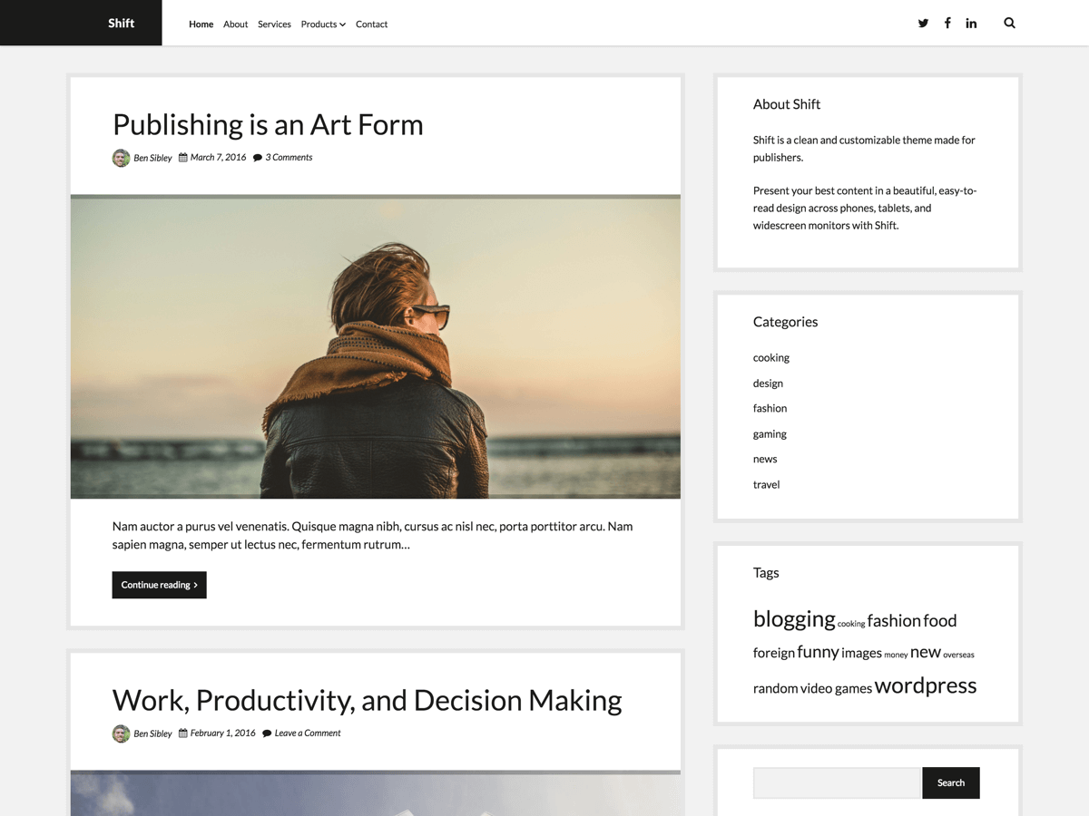 Shift Download Free Wordpress Theme 2